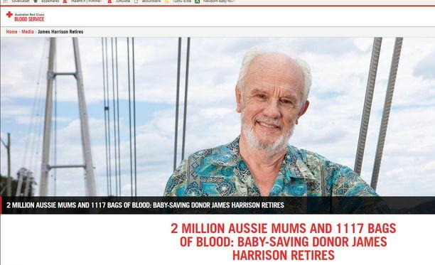 James Harrison luovutti verta viimeisen kerran verta perjantaina.