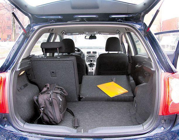 BOKSI Tavaratila edustaa tavanomaista melko niukkaa hatchbackien tilaa.