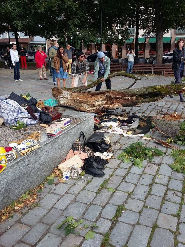 Puu kaatui Tampereen Hämeenpuistossa lähes ihmisten päälle.
