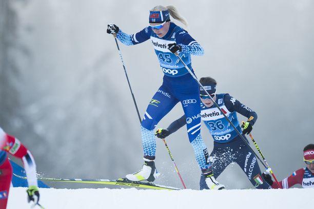 Anne Kyllönen oli sprintin aika-ajojen paras suomalainen.