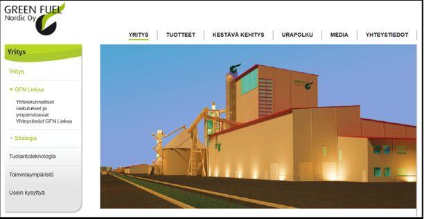 Green Fuel Nordic rakentaa bioöljytehtaan Lieksaan Kevätniemen teollisuusalueelle. Kuvakaappaus yhtiön verkkosivuilta.