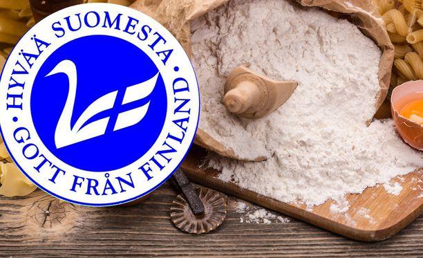 Yhden aineisosan tuote, kuten esimerkiksi vehnäjauho, voi käyttää Hyvää Suomesta -merkkiä vain jos sata prosenttia viljasta on suomalaista. Kuvituskuva.