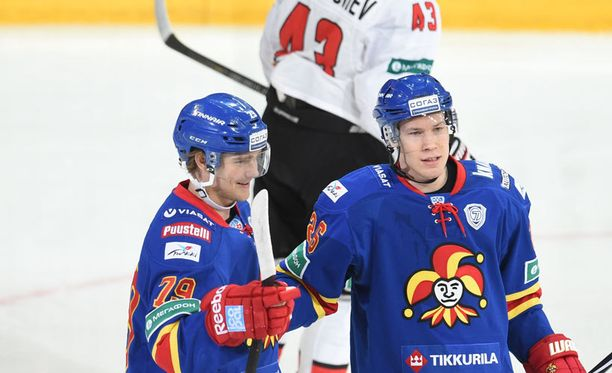 Eetu Pöysti ja Petteri Wirtanen pääsivät tuulettelemaan Jokerit-osumaa kuudesti.