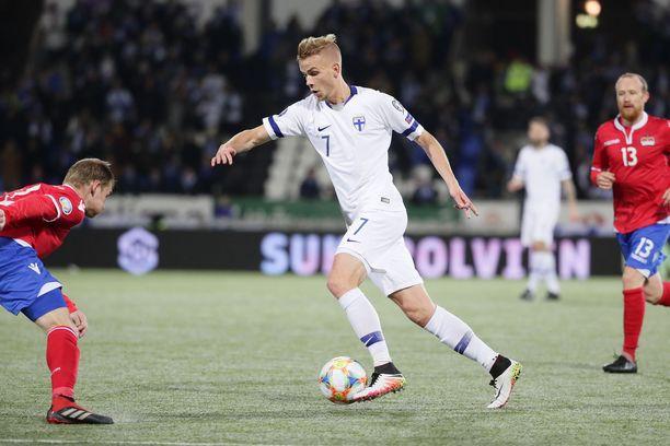 Jasse Tuominen teki helpottavan 1–0-maalin Liechtensteinin verkkoon perjantaina.