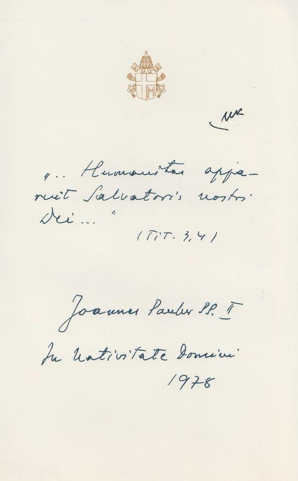 Paavi Johannes Paavali II muisti Urho Kekkosta jouluna 1978 historiaa huokuvalla kortilla.