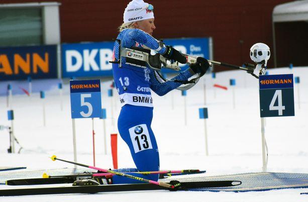 Kaisa Mäkäräinen kilpaili torstaina Östersundissa. Kuva viime kaudelta.