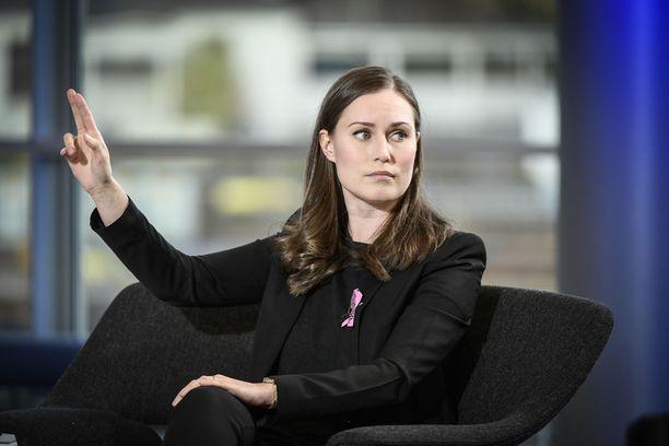 SDP:n  puheenjohtaja, pääministeri Sanna Marin Iltalehden puheenjohtajatentissä 20.10.2020.