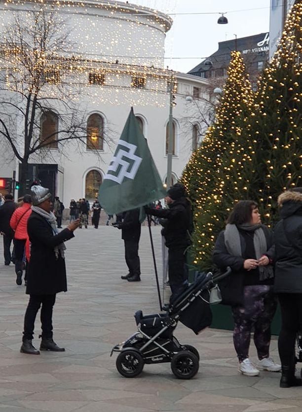 Natseilla on ollut mukana lippuja, jotka viittaavat vahvasti hakaristisymboliikkaan.