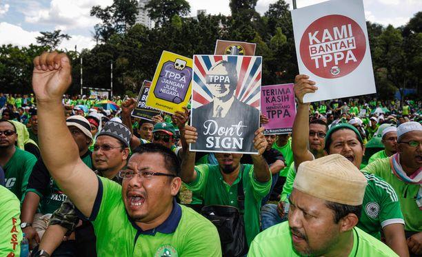 Malesian Kuala Lumpurissa osoitettiin tammikuun lopussa mieltä vapaakauppasopimusta vastaan.