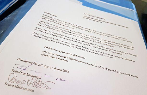Aloitteessa kaksikko perustelee, miksi gondolihissien hankkiminen Jyväskylään on heistä hyvä ja 2 miljoonan euron arvoinen idea.