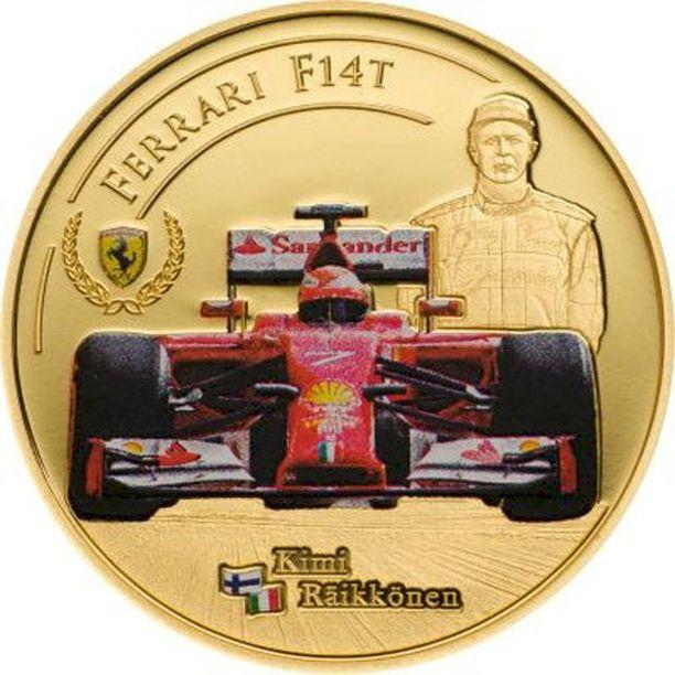 Kimi Räikköstä esittävässä kultarahassa on käytetty myös värejä.