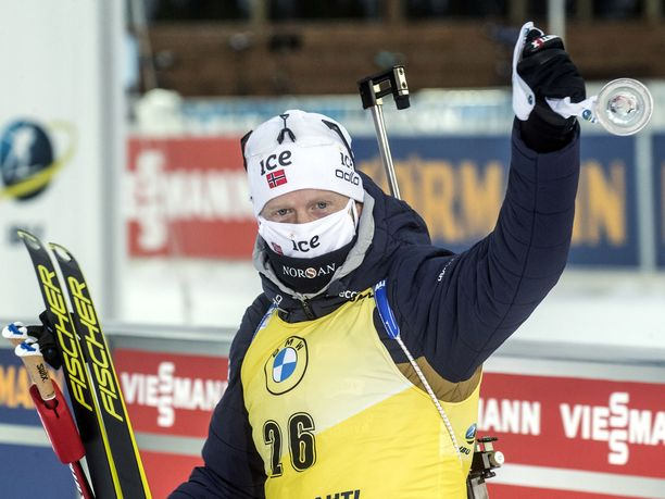 Johannes Thingnes Bø tuuletti Kontiolahdella pikakisan voittoa.
