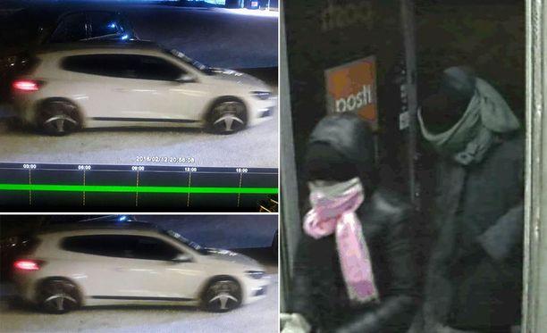 Poliisin valvontakamerakuvissa näkyvän kaksikon epäillään tehneen kaksi ryöstöä maanantai-illan aikana.