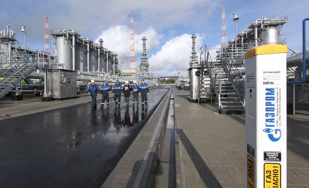 Portovajan lahden kompressoriasema Viipurissa, noin 15 kilometriä Suomen rajalta. Täältä paineistettu kaasu pumpataan Itämeren kaasuputkeen.