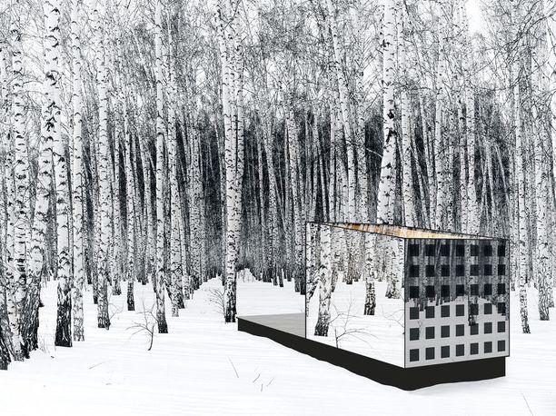 Rakennus on liikuteltava pakopaikka, jonka voi sijoittaa esimerkiksi metsään. Sisällä voi sitten vaikka maalailla, musisoida tai meditoida.