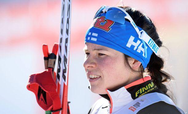 Krista Pärmäkoski on MM-Lahden alla otollisessa tilanteessa.