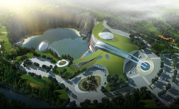 Havainnekuva siitä, miltä kaivokseen rakennetun hotellin on määrä näyttää ilmasta käsin.