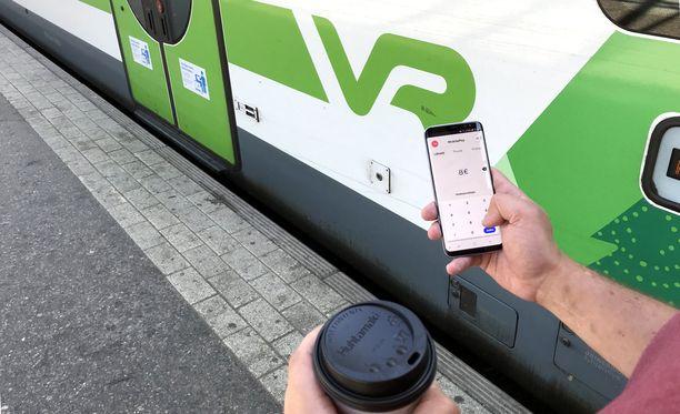 MobilePayn avulla junalipun ostaminen käy muutamassa sekunnissa.