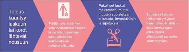 Suomen Pankin näkemys siitä, miten Suomen taloutta uhkaa vaarallinen noidankehä.