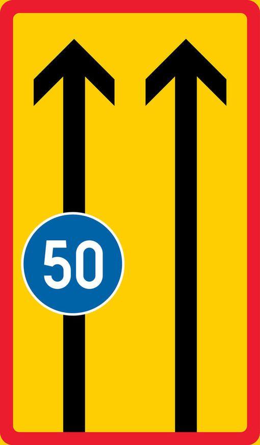 Alin sallittu nopeus -merkkiä voidaan käyttää myös kaistan nopeutta määräävänä merkkinä.