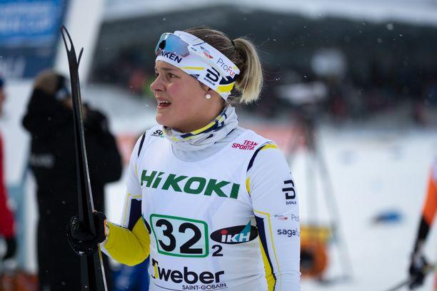 Julia Häger on sprinttihiihdon tuore SM-hopeamitalisti. Kuva viime kaudelta.