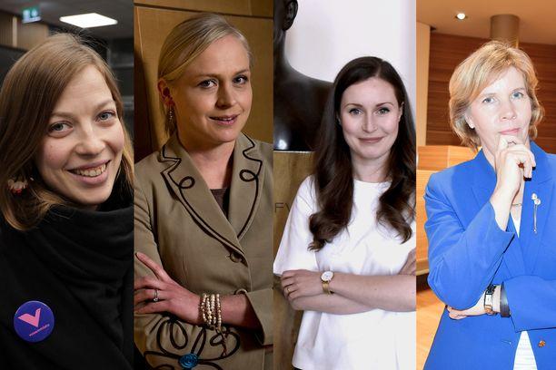 Li Andersson (vas), Elina Lepomäki (kok), Sanna Marin (sd) ja Anna-Maja Henriksson (rkp) nousivat maan kymmenen ääniharavan joukkoon.