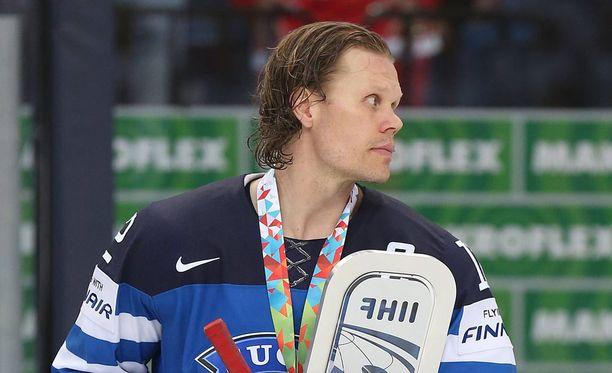 Olli Jokinen jääkiekon MM-kisoissa Minskissä vuonna 2014.