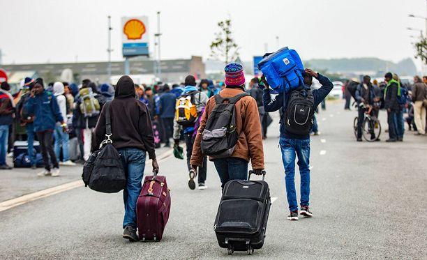 Ranskan Calais'n Viidakoksi kutsutun pakolaisleirin tyhjentämistä viime lokakuulta.