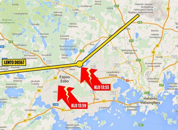 Salamoita rekisteröivästä Ilmatieteenlaitoksen tietokannasta ja Norwegianin koneen lentoreitistä (flightradar.com) näkyy, miten kone, johon salama iski, lensi Lippajärven yli juuri tapahtumahetkellä klo 13:53.