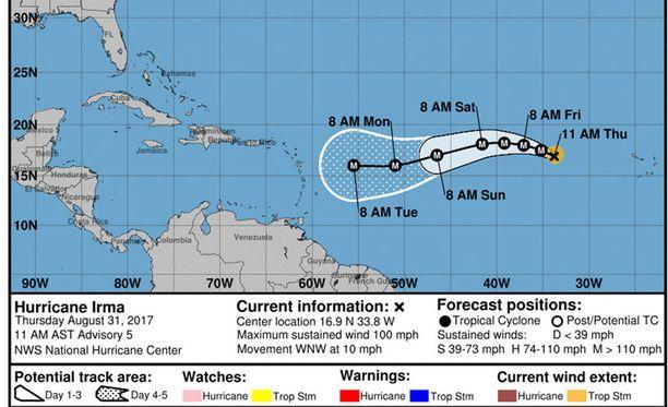 Irma on vielä kaukana rannikosta.