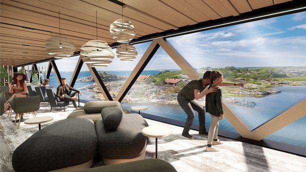 Finnlinesin uuden laivan maisemaikkunoista on helppo ihailla saaristoa.