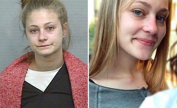 Vasemmalla poliisin pidätyskuva, oikealla kuva, jonka Sharp toimitti rumana pitämänsä pidätyskuvan tilalle.