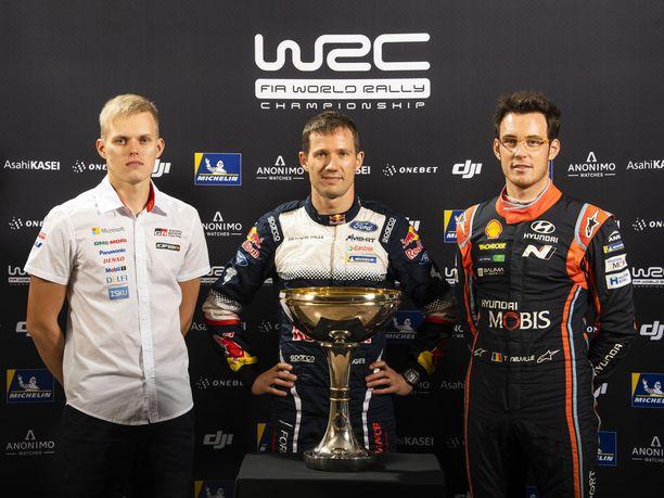 Ott Tänak, Sébastien Ogier ja Thierry Neuville ratkaisevat rallin maailmanmestaruuden kohtalon.