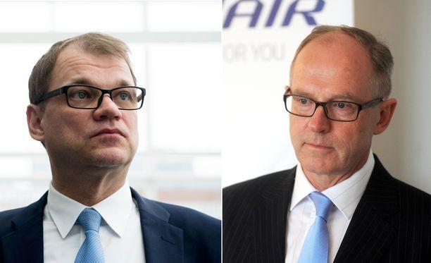 Hallituslähteen mukaan Juha Sipilä (kesk) ei tiennyt Pekka Vauramon lisäeläkkeestä viime vuonna.
