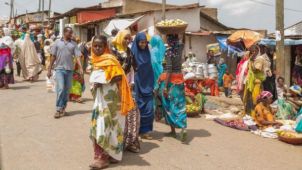 Vilinää Hararissa Itä-Etiopiassa.