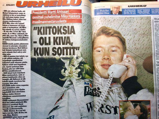 Iltalehti raportoi Mika Häkkisen maailmanmestaruudesta kaikkiaan 15 sivulla.