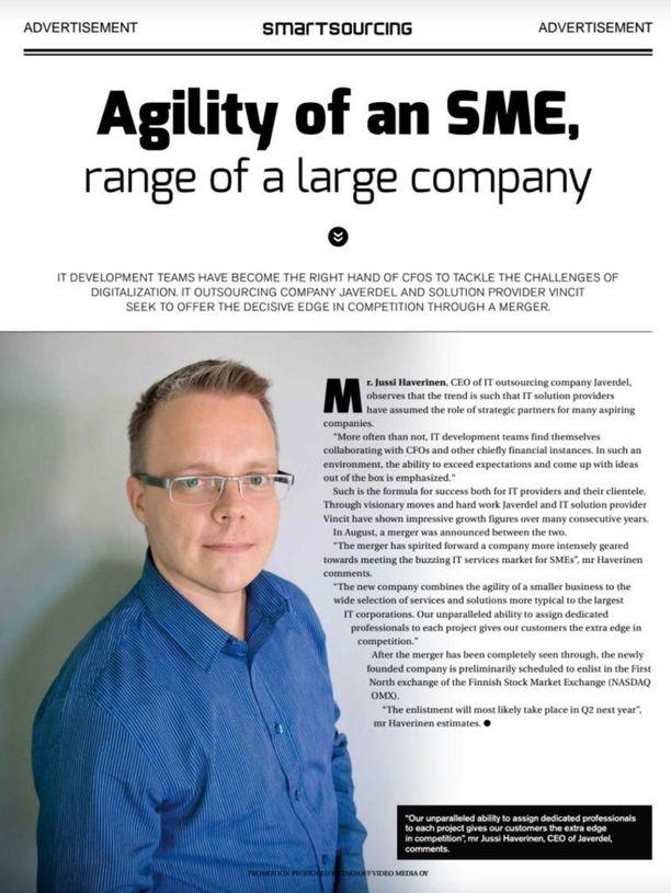 Javerdelin entinen toimitusjohtaja Jussi Haverinen Finnairin matkustamolehti Blue Wingsin haastattelussa vuonna 2015. Vincit osti Javerdelin elokuussa 2015.