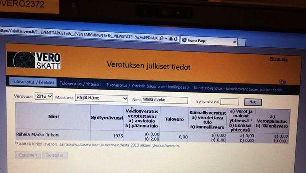 Samaan aikaan, kun Sillanpää tekee ahkerasti keikkoja ja tienaa kuusinumeroisia summia, hänen keikkamyyjänsä verotiedot näyttävät tältä.