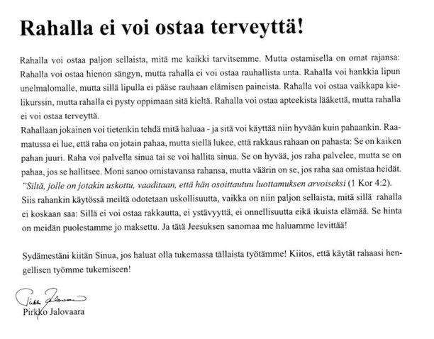 Rukousystävät-lehden ilmoitus vuodelta 2011.