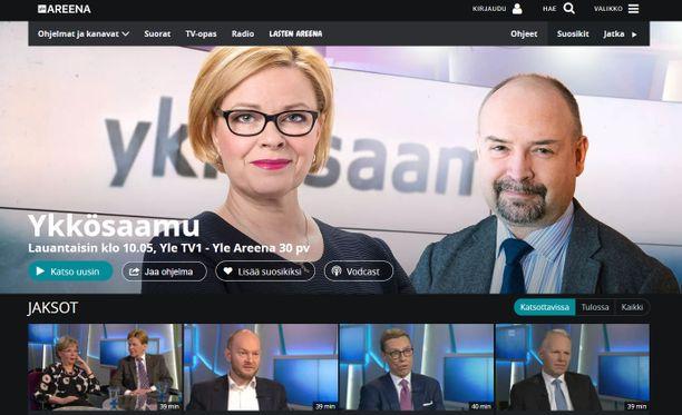 Ykkösaamun sivuilla Yle Areenassa potkut saaneen Jari Korkin kasvot ovat edelleen vahvasti esillä.