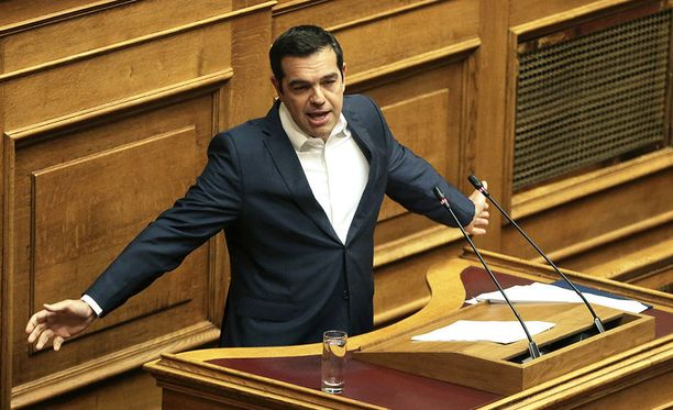 Kreikan pääministeri Alexis Tsipras puhui parlamentilleen maan talousnäkymistä viimeisen euroryhmän tapaamisen jälkeen heinäkuun alussa.