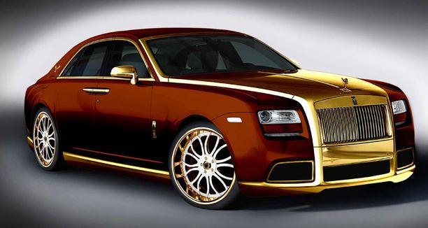 Rolls Royce Ghost Diva on poikkeuksellisen ylellinen ajopeli. Kuvassa pronssinvärinen malli kullatuin yksityiskohdin.