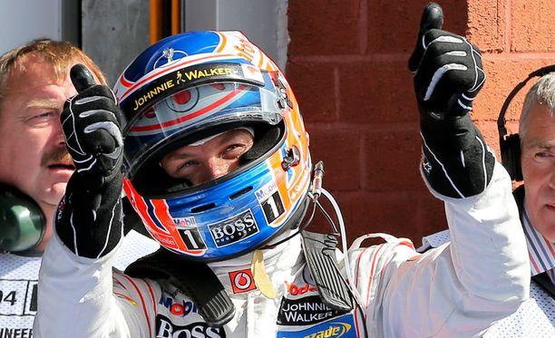 Jenson Button oli erittäin innoissaan paalupaikastaan.