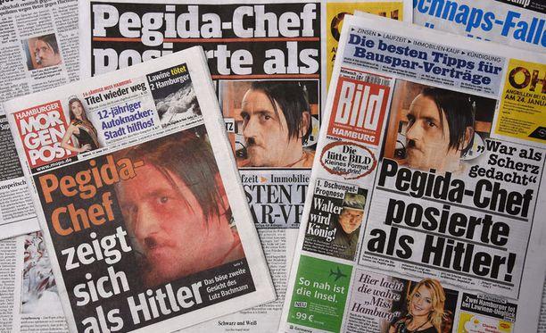 Saksalaislehdet repesivät Hitler-kuvakohusta. Lehtien kansissa näkyy Lutz Bachmannin poseeraus diktaattorina.