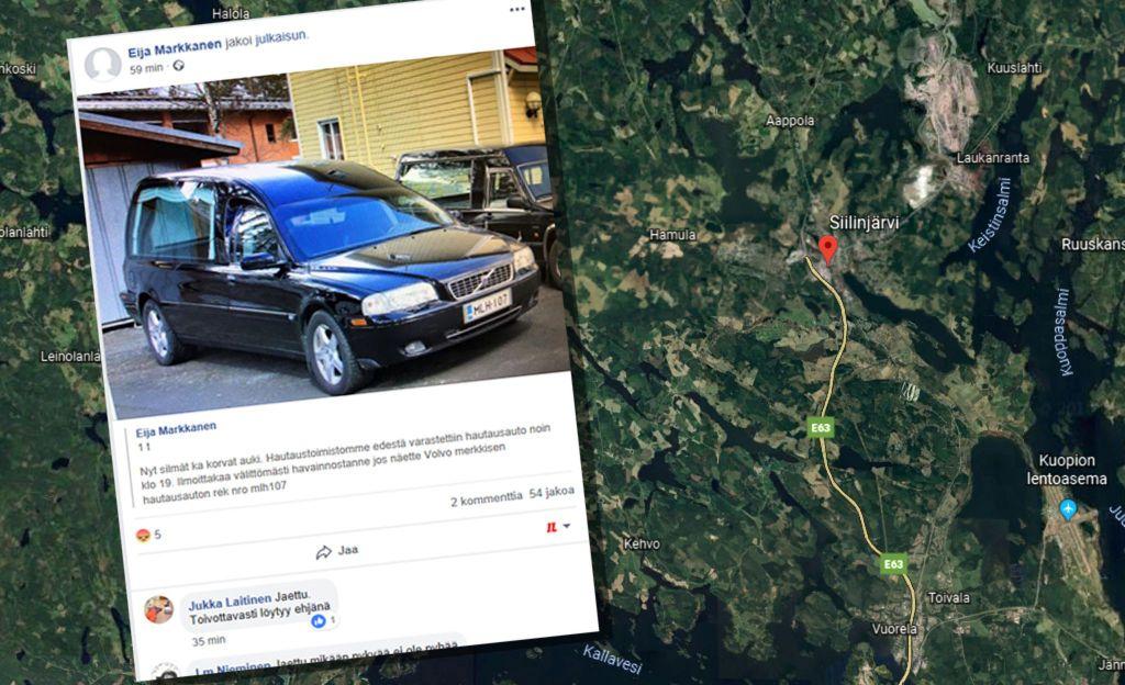Hautaustoimiston ruumisauto varastettiin - löytyi myöhemmin hylättynä parkkipaikalta
