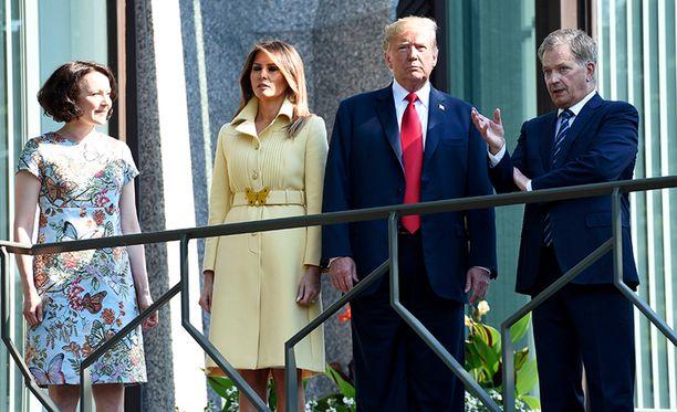 Presidentti Niinistö ja rouva Jenni Haukio ottivat Trumpit vastaan tänään maanantaina Mäntyniemessä.