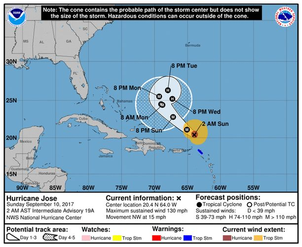 NOAA:n ennuste Josen reitistä.