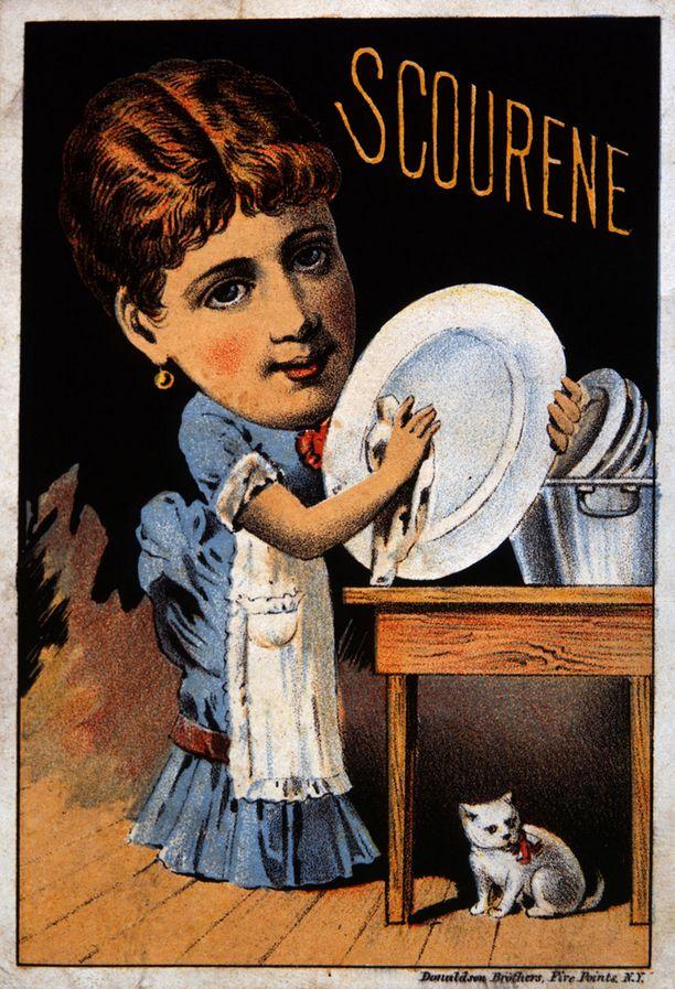 Scourene-tiskiainetta mainostava, The Simonds Soap Co.-saippuayrityksen kortti vuodelta 1879.