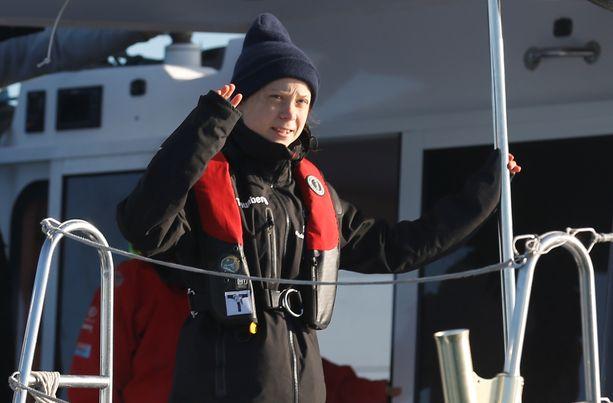 Greta Thunberg on saapunut Lissaboniin La Vagabonde-jahdin kyydissä.