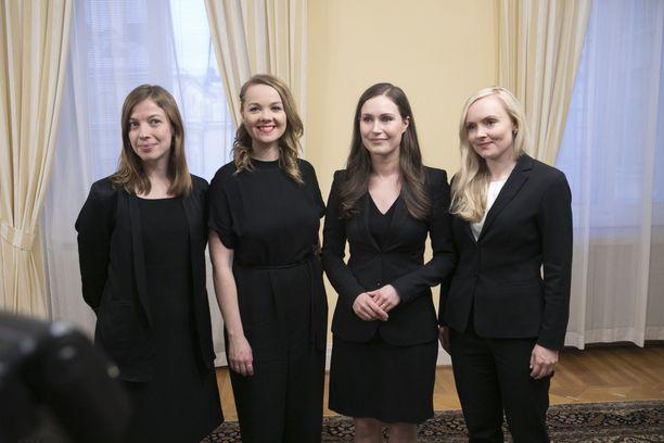 Hallituksen kärjessä on nuorten naisten nelikko: Li Andersson, Katri Kulmuni, Sanna Marin ja Maria Ohisalo.